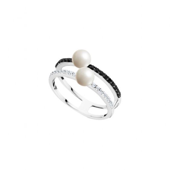 Bague Elsa Lee Paris en argent, monture double, deux perles blanches 5mm et oxydes de Zirconium noirs et incolores
