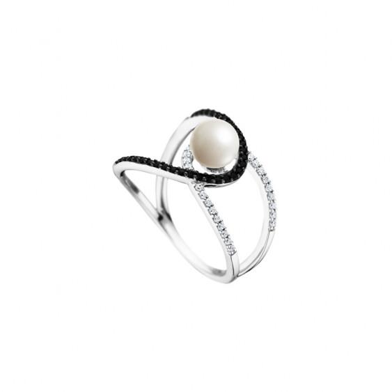 Bague croisée noire et blanche et perle blanche par Elsa Lee - Bague en argent croisé perle noire et blanche