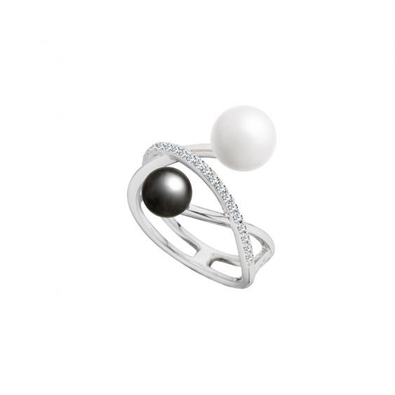 Bague en argent Elsa Lee Paris, avec deux perles grise et blanche et une branche pavée d'oxydes de Zirconium incolores