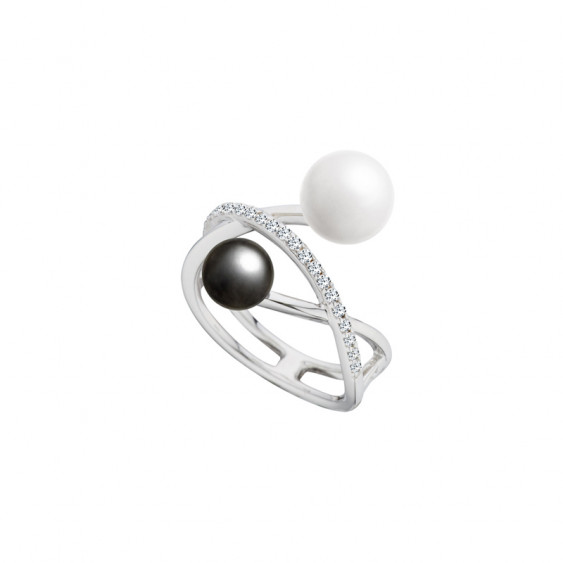 Elsa Lee Paris sterling silver ring, black and white collection, with Cubic Zirconia, grey and white pearls