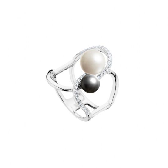 Bague Forever Elsa Lee Paris en argent 925, avec perles grise et blanche et branche pavée d'oxydes de Zirconium incolores.