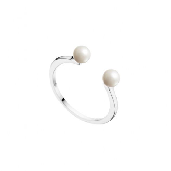 Bague ouverte Elsa Lee Paris, en argent 925, avec deux perles blanches de 4mm de diamètre aux extrémités