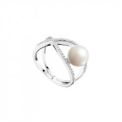 Bague en argent 925 Elsa Lee Paris, branches croisées pavées d'oxydes de Zirconium, perle blanche de 8mm sur le côté