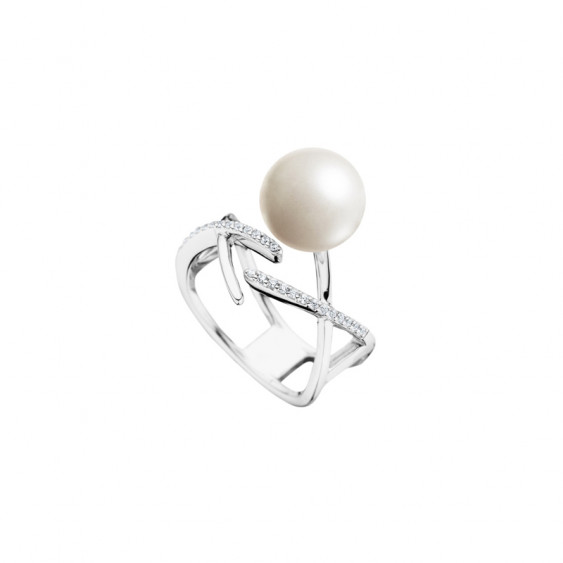 Elsa Lee Paris sterling silver open ring, with a cross pattern, a white pearl and Cubic Zirconia