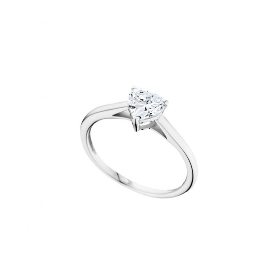 Elsa Lee Paris sterling silver ring, with a heart-shaped clear Cubic Zirconia