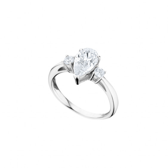 Bague Elsa Lee Paris, collection Tradition, argent massif et Zirconiums taille poire