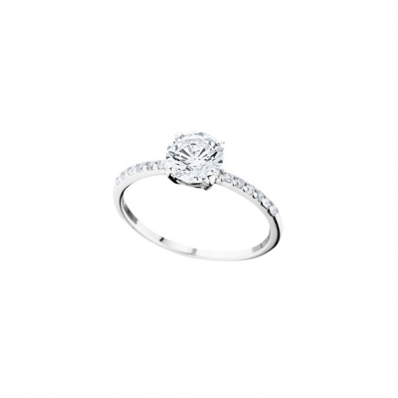 Elsa Lee Paris classic sterling silver ring, with diamond cut Cubic Zirconia centerpiece and shiny stones on both sides