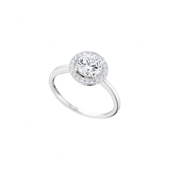 Elsa Lee Paris sterling silver ring with one round cut Cubic Zirconia centerpiece circled by a crown of cubics Zirconia
