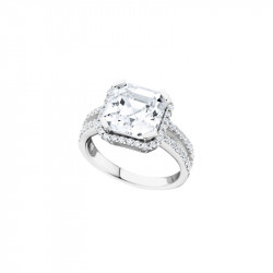 Bague Elsa Lee Paris, collection Tradition, en argent avec Zirconiums brillants dont un taille Princesse