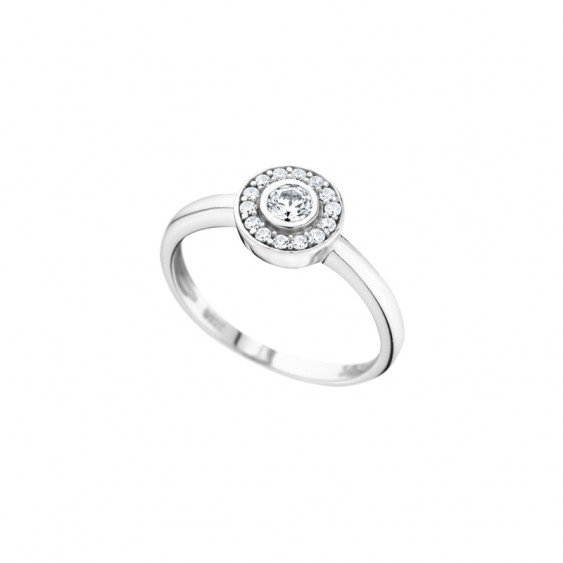 Elsa Lee Paris sterling silver Ring, one close set diamond cut Cubic Zirconia surrounded by its crown of Cubic Zirconia