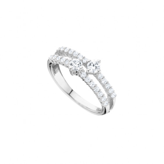 Elsa Lee Paris sterling silver ring, two rows covered in clear Cubic Zirconia, with two bigger Zirconia in the center