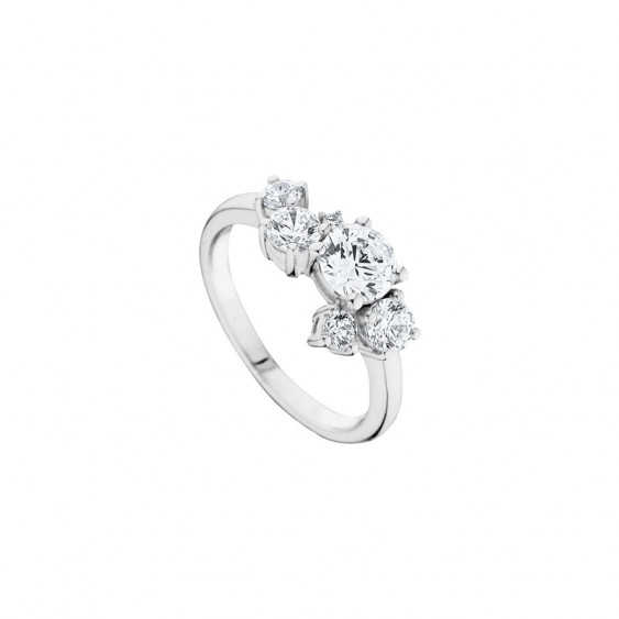 Elsa Lee Paris sterling silver ring, Milky Way pattern with claws set Cubic Zirconia