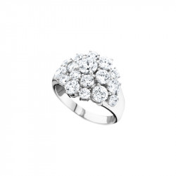 Elsa Lee Paris sterling silver Ring , flower pattern made with 17 clear Cubic Zirconia