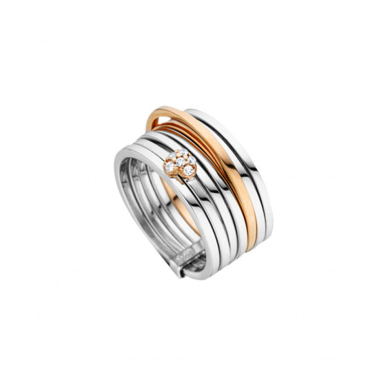 Elsa Lee Paris sterling silver ring, spiral pattern with one line with pink rhodium-plating and a heart covered in Cubic Zirconi