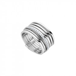 Elsa Lee Paris sterling silver ring, spiral pattern with one line covered with Cubic Zirconia