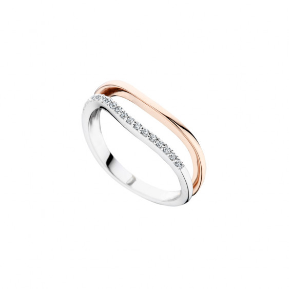 Elsa Lee Paris sterling silver ring, pink rhodium-plating and Cubic Zirconia