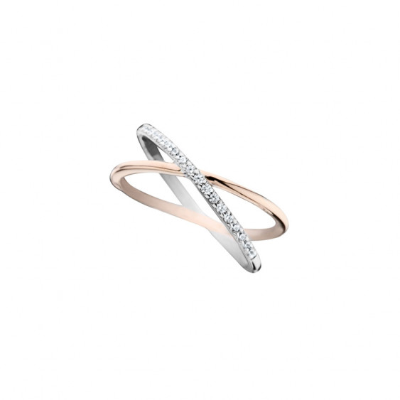 Elsa Lee Paris sterling silver ring, cross pattern, pink rhodium-plating and Cubic Zirconia