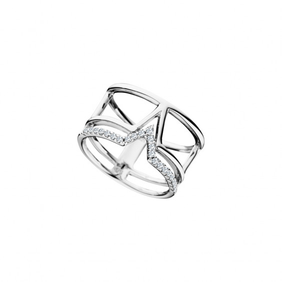 Elsa Lee Paris sterling silver wide ring, triangle pattern and clear Cubic Zirconia