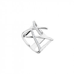 Elsa Lee Paris sterling silver ring  from the trendy collection, cross pattern and clear Cubic Zirconia