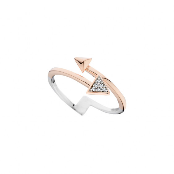 Elsa Lee Paris sterling silver ring with triangles pattern and a pink rhodium-plating on half of the ring and Cubic Zirconia