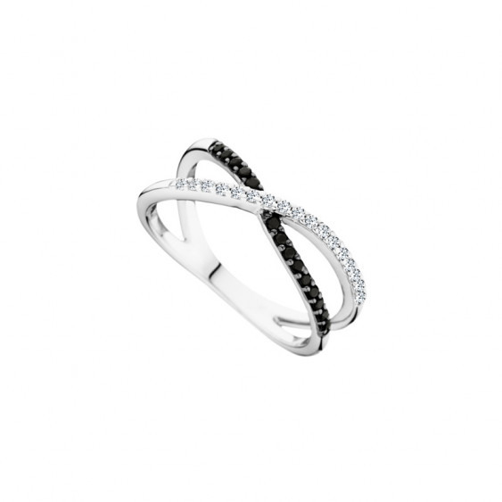 Black and white Cross Ring in 925 silver by Elsa Lee Paris