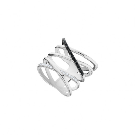 Bague double croix noire et blanche en argent 925 par Elsa Lee - Bague croix noir et blanc