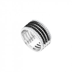 Elsa Lee Paris sterling silver wide ring with clear and black Cubic Zirconia