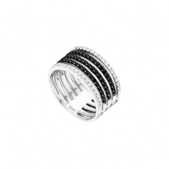 Black and white Ring in 925 silver by Elsa Lee Paris