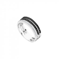 Elsa Lee Paris sterling silver ring with clear and black Cubic Zirconia