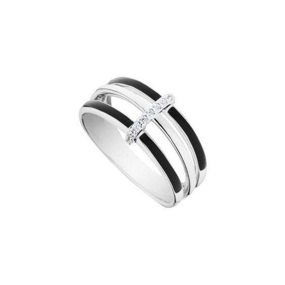 Elsa Lee Paris sterling silver ring with two lines of black enamel and one with Cubic Zirconia