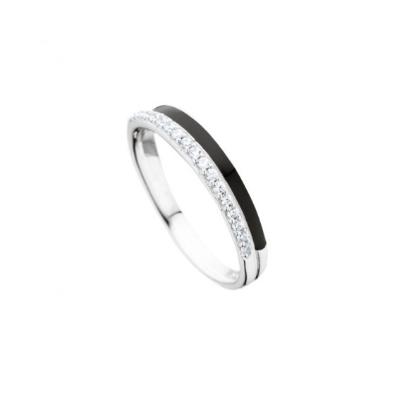 Elsa Lee Paris sterling silver ring, 2 lines with black enamel and Cubic Zirconia