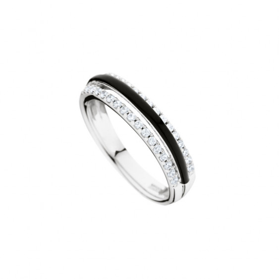 Elsa Lee Paris sterling silver ring with 3 lines, the middle one with black enamel and the other two with Cubic Zirconia