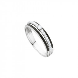 Elsa Lee Paris sterling silver ring, 3 lines with a middle covered in Cubic Zirconia and centerpiece and black enamel