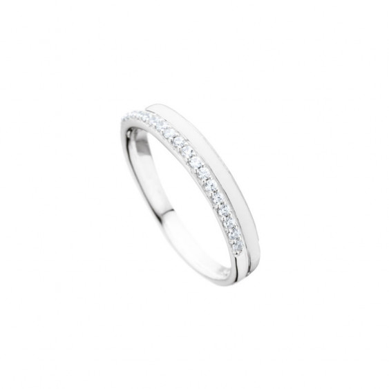 Elsa Lee Paris sterling silver ring, 2 lines with white enamel and Cubic Zirconia