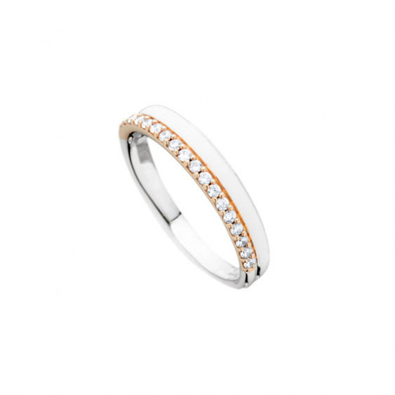 Elsa Lee Paris sterling silver ring, 2 lines with light pink enamel and Cubic Zirconia