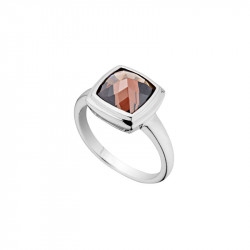 Elsa Lee Paris sterling silver ring with one brown stone