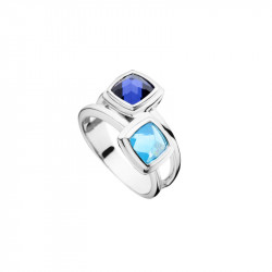 Elsa Lee Paris sterling silver ring with two stones, tanzanite and blue colors