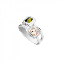 Elsa Lee Paris sterling silver ring with two stones, champagne and green colors, with 24 Cubic Zirconia
