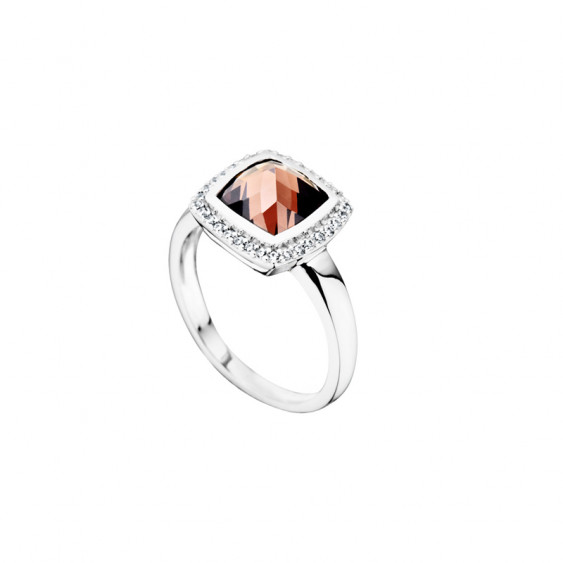 Elsa Lee Paris sterling silver ring with one brown stone and its round of Cubic Zirconia