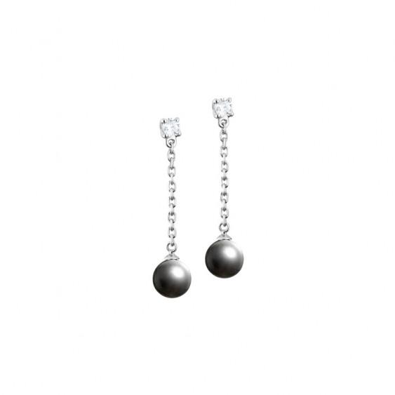 Boucles d'oreilles pendantes Elsa Lee Paris, en argent massif, avec deux oxydes de Zirconium blancs, chaînes et perles grises