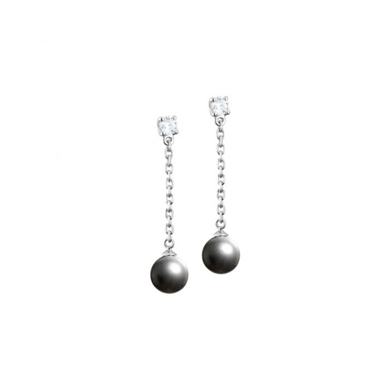 Elsa Lee Paris sterling silver dangling earrings, with two grey pearls and two clear Cubic Zirconia