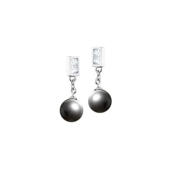 Boucles d'oreilles pendantes Elsa Lee Paris, en argent avec perles grises et oxydes de Zirconium