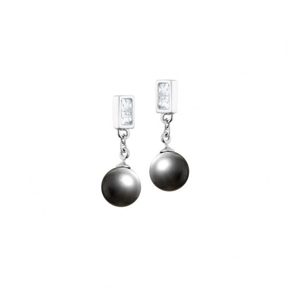 Elsa Lee Paris sterling silver dangling earrings with two grey pearls and 4 close set Cubic Zirconia