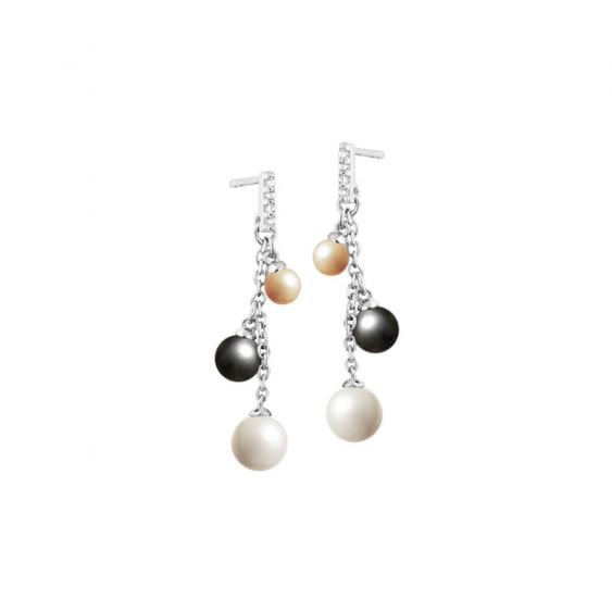 Boucles d'oreilles pendantes Elsa Lee Paris en argent 925 collection Trilogie avec perles de couleurs sur chaînes