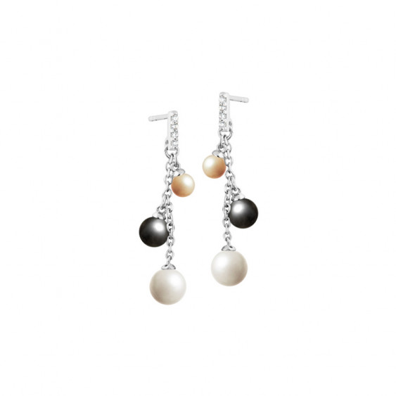Elsa Lee Paris dangling sterling silver earrings with grey, white and gold pearls and Cubic Zirconia