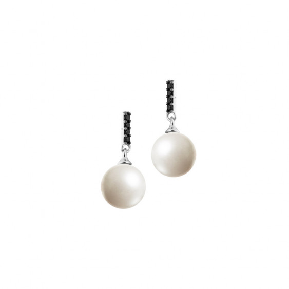Elsa Lee Paris dangling sterling silver earrings, two white pearls with 8 black Cubic Zirconia