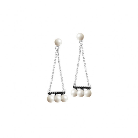 Elsa Lee Paris dangling sterling silver earrings with 18 black Cubic Zirconia and 8 white pearls