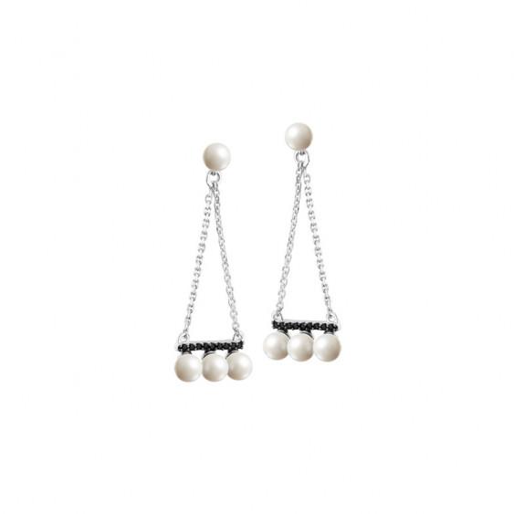 Boucles d'oreilles Elsa Lee Paris, en argent massif, forme triangle avec perles blanches et oxydes de Zirconium noirs