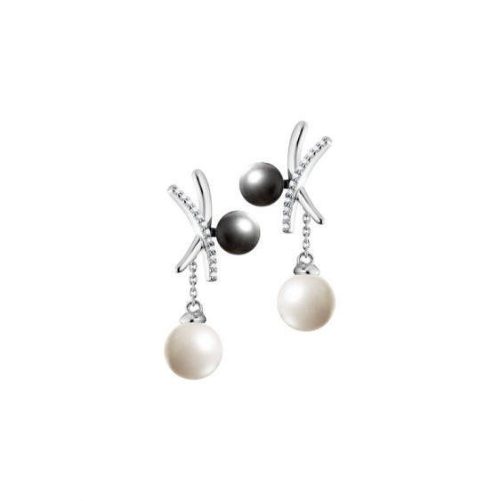 Elsa Lee Paris sterling silver earrings with 24 clear Cubic Zirconia, 2 grey pearls 6mm and 2 white pearls 8mm
