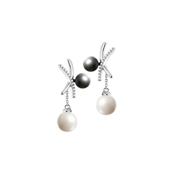 Boucles d'oreilles Elsa Lee Paris, en argent 925, forme croix, avec une perle grise et une perle blanche et oxydes de Zirconium